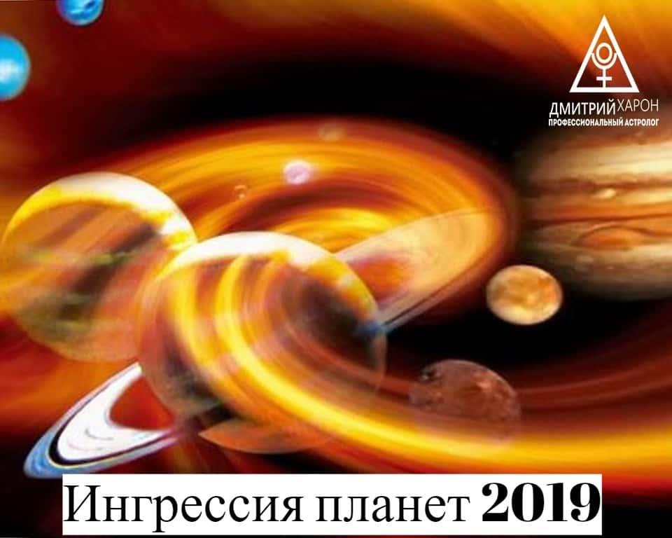 Ингрессия (транзиты) планет в 2019 году